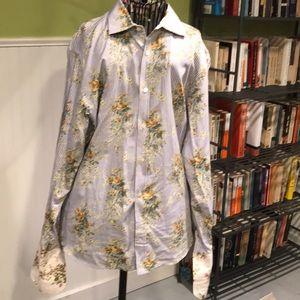 Ted Baker stripe floral shirt 4 ( large) blues